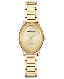 Anne Klein Women's Diamond-Accent Gold-Tone Bracelet Watch 24x30mm