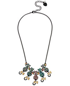 "Two-Tone Pavé Cat Statement Necklace, 16"" + 3"" extender"