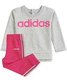 adidas Baby Girls Pullover Sweatshirt & Jogger Pants Set
