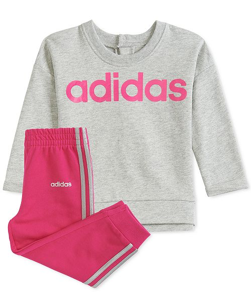 adidas Baby Girls Pullover Sweatshirt & Jogger Pants Set