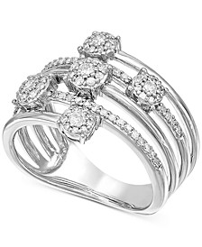 Diamond Cluster Stack Look Statement Ring (1/2 ct. t.w.) in 14k White Gold