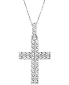 "Diamond Cross 18"" Pendant Necklace (1/2 ct. t.w.) in 14k White Gold"