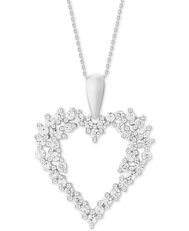 """Macy's Diamond Cluster 18"""" Pendant Necklace (1/2 ct. t.w.) in 14k White Gold"""