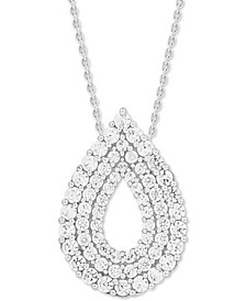 "Diamond Multi-Layer Teardrop 18"" Pendant Necklace (1 ct. t.w.) in 14k White Gold"