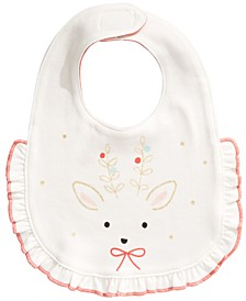 Baby Girls Cotton Reversible Reindeer Bib, Created For Macy's
