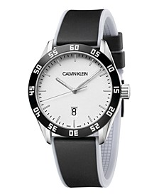 Unisex Compete White & Black Silicone Strap Watch 42mm
