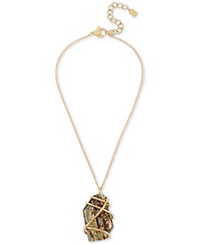 """Gold-Tone Wire-Wrapped Stone Pendant Necklace, 16"""" + 3"""" extender"""