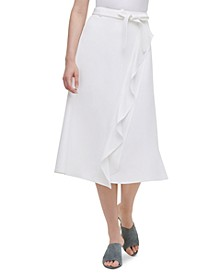 Ruffled Faux-Wrap Skirt