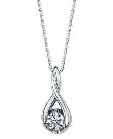 Sirena Diamond (1/10 ct. t.w.) Twist Pendant in 14k White or Yellow or Rose Gold