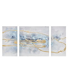 Blue Cosmo Canvas Set Hand Embellished Textured Glitter and Gold Foil 3-Pc Set