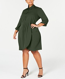 Love Squared Trendy Plus Size Cascade Wrap Shirtdress