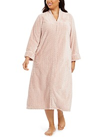 Charter Cub Plus Size Chevron Plush Zipper Front Robe, Created For Macy's