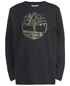 Timberland Big Boys Antrim Black Camo Logo T-Shirt