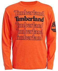 Timberland Little Boys Orange Stacked Logo T-Shirt