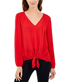 INC Tie-Front Blouson Top, Created For Macy's