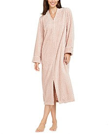 Women's Chevron Plush Zipper Front Robe, Created For Macy's