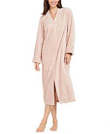Charter Club Women's Petite Chevron Plush Zipper Front Robe, Created For Macy's