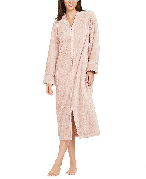 Charter Club Women's Chevron Plush Zipper Front Robe, Created For Macy's
