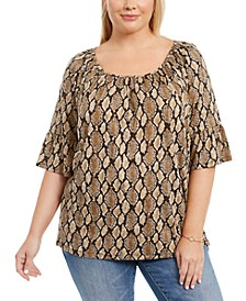 Plus Size Animal-Print Pleated Bell-Sleeve Top