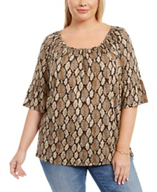 Michael Michael Kors Plus Size Animal-Print Pleated Bell-Sleeve Top