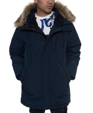 Sean John Men's Faux Fur Trimmed Three-quarter Snorkel Coat In Navy