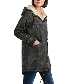 Camo Print Faux-Fur-Trim Coat