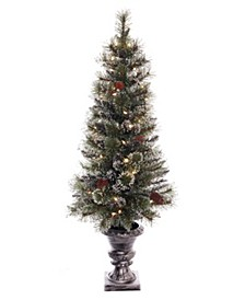 International 4 ft Pre-lit Glitter Premium Potted Artificial Christmas Tree 50 UL listed Clear Lights