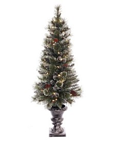 Puleo International 4 ft Pre-lit Glitter Premium Potted Artificial Christmas Tree 50 UL listed Clear Lights