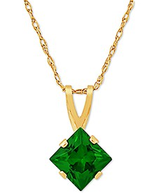 "Lab Created Emerald 18"" Pendant Necklace (1/2 ct. t.w.) in 14k Gold"