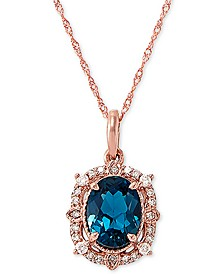 "London Blue Topaz (2-1/5 ct. t.w) & Diamond (1/6 ct. t.w.) 18"" Pendant Necklace in 14k Rose Gold"
