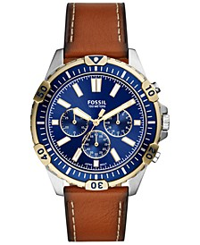 Men's Chronograph Garrett Brown Leather Strap Watch 44mm