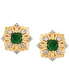 Emerald (1/2 ct. t.w) & Diamond (1/10 ct. t.w) Stud Earrings in 14k Gold
