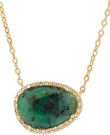 "Emerald (3-5/8 ct. t.w.) & Diamond (1/10 ct. t.w.) 18"" Pendant Necklace in 14k Gold"