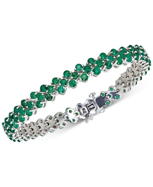 Macy's Emerald Tennis Bracelet (13 ct. t.w.) in Sterling Silver(Also Available in Certified Ruby and Sapphire)