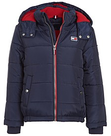 Baby Boys Steven Dark Blue Colorblocked Puffer Jacket