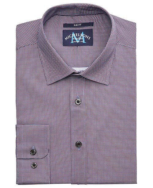 Michelsons of London Men's Slim-Fit Performance Stretch Check Dress Shirt