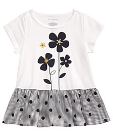 Toddler Girls Flowers-Print Cotton Peplum T-Shirt, Created For Macy's