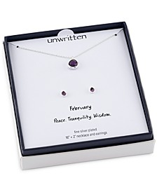 2-Pc. Set Mini Birthstone Crystal Pendant Necklace & Stud Earrings in Silver-Plating, Created for Macy's