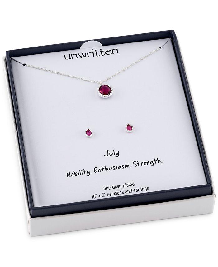 Unwritten - 2-Pc. Set Birthstone Crystal Pendant Necklace & Stud Earrings in Fine Silver-Plate