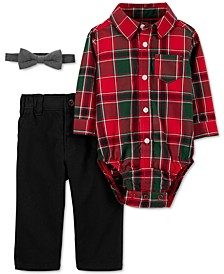 Baby Boys 3-Pc. Cotton Plaid Bodysuit, Bow Tie & Twill Pants Set
