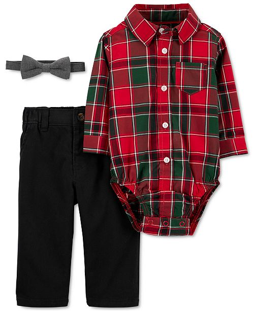 Carter's Baby Boys 3-Pc. Cotton Plaid Bodysuit, Bow Tie & Twill Pants Set