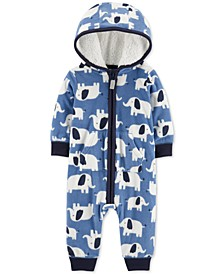 Baby Boys Hooded Fleece Elephant Jumpsuit