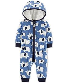 Carter's Baby Boys Hooded Fleece Elephant Jumpsuit