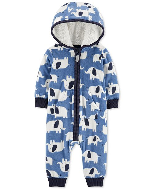 Carter's Baby Boys Hooded Fleece Elephant Jumpsuit