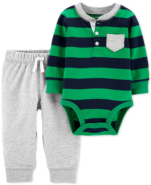 Carter's Baby Boys 2-Pc. Cotton Bodysuit & Jogger Pants Set