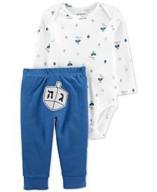 Baby Boys 2-Pc. Cotton Dreidel Bodysuit & Pants Set