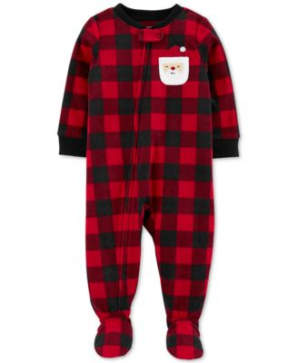 Baby Boys Footed Fleece Santa Pajamas