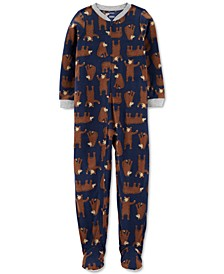 Little & Big Boys 1-Pc. Bear-Print Fleece Footed Pajamas