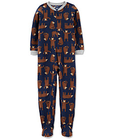 Carter's Little & Big Boys 1-Pc. Bear-Print Fleece Footed Pajamas