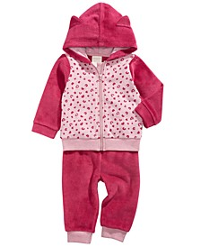 Baby Girls 2-Pc. Leopard-Print Minky Hoodie & Pants Set, Created For Macy's